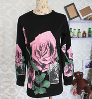 Free shipping 2014 autumn and winter catwalk models oversize sweater three-dimensional flowers abstract flowers