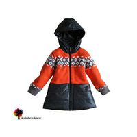New Children Clothing Autumn Winter Girls Thick Warm Patchwork Sweater Coat Hooded Jacquard Sweater Coat Kids Outwear