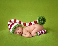 Handmade Cotton Crochet Beanie Baby Long Tail Elf Caps Newborn Photography Props Children Accessories Child Striped Pom pom Caps