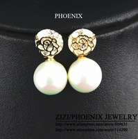 HEE018 Wholesale 2014 New 14K Gold Plated Flowers pearl Stud Earrings for women brincos bijoux boucle d'oreille Mujer ouro
