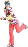2014 gsou snow womens multicolor curves ski jacket geometric figure snowboarding jacket ladies skiing jacket snow parka skiwear