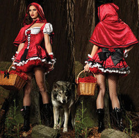 New 2014 Fantasy Christmas Costumes Cotton Short Sleeve Little Red Riding Hood Evil Queen Cosplay Halloween Queen Witch Costume