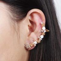 2014 Fashion Gold Flower Women Rhinestone Ear Cuff Earrings Ear Clips,Free shipping
