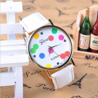 2014 new fashion Classic Geneva leather quartz Watch Jelly women girl dress watches free shipping