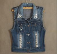 Free shipping 2014 NEW hot Women's BEADING denim jean vests, women  turn-down collar  sleeveless  jacket outwear,M-XXL