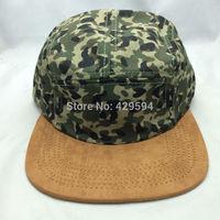 2014 hot sale duck camouflage crown brown suede 5 panel strapback cap blank camp cap custom baseball cap high quality camper hat