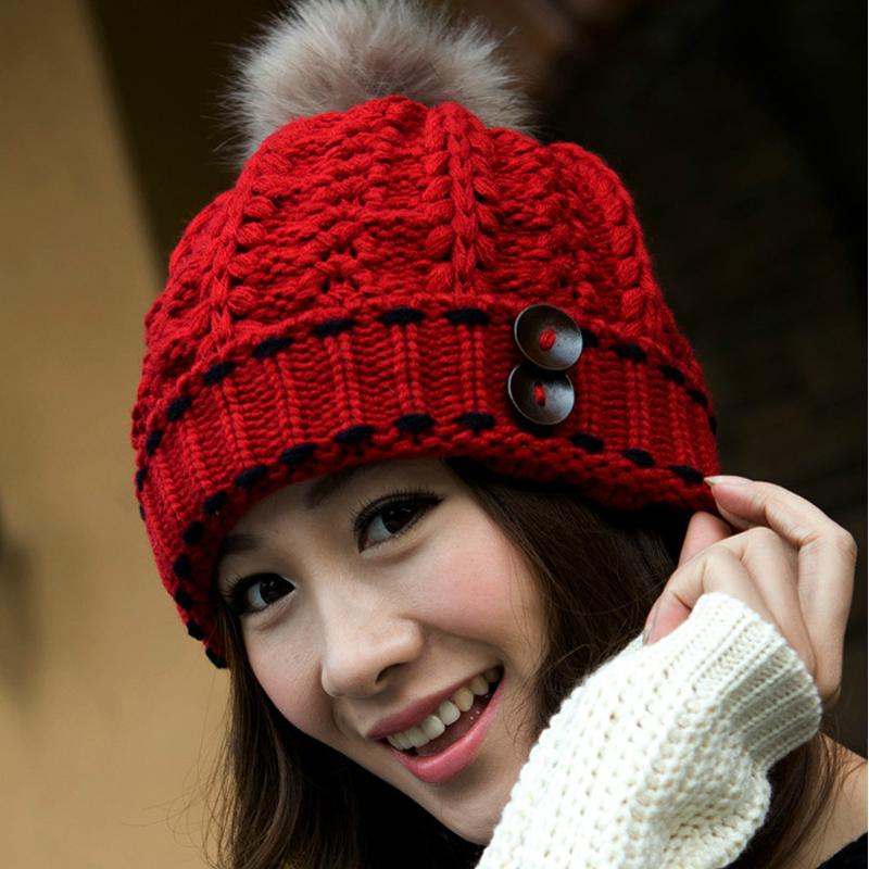 New 2014 Women Fashion Wool Hat Casual Skullies Knitted Caps Free Shipping Winter Ear Protect Cute Casual Cap Women Beanies(China (Mainland))