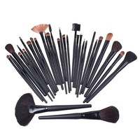 professional 32pcs cosmetic facial make up brush kit wool makeup brushes tools set with black leather case black colour CZ001