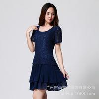 New 2014 Plus size women summer dress short sleeve lace dress folds large size Chiffon Dress Spring 2014 women summer dress