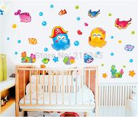 [Saturday Mall] - children's wall stickers cartoon octopus kids room bathroom environmental decorative waterproof removable 6814