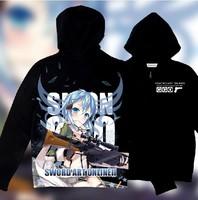 New Sword Art Online 2 Phantom Bullet Gun Gale Online GGO Sinon Cosplay Hoodies Sweatshirts Free Shipping