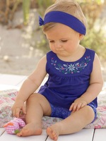 2014 new Blue baby suits/Baby Jumpsuits/climb clothes kerchief+ sleeveless dress+ gingham plaid pant/ New arrived