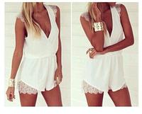 2014 New Women sleeveless Casual Lace Flower Dress Women Treacle V-Neck White Sexy Dress