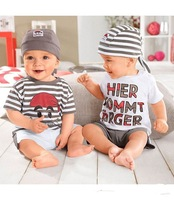 Retail Letters three-piece suit Boys Romper Children Top Quality baby clothing set casual boy hat+tops+shorts kid 3pc suit