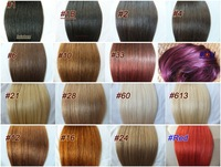 70g 100g 160g Full Head  Virgin Remy Hair Clip In Human Hair Extensions 26 Colors available use 16'' 18'' 20'' 22'' 24'' 26''