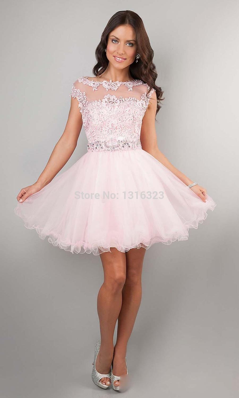 ... Dresses-Pink-High-Neck-Beads-Applique-See-Through-Cheap-Junior-Girls