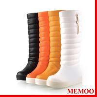 MEMOO  2014 Women Snow Boots Round Toe Platforms Med heel Waterproof  Chains Winter   Size34-43 Rubber bottom PU A1595