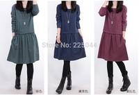 Slim 2014 new fashion maternity autumn dotlong sleeve 0-neck dress for pregnant women
