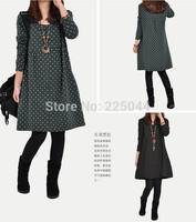 Slim 2014 new fashion autumn and winter long sleeve 0-neck dress for pregnant women dot long dress blouse
