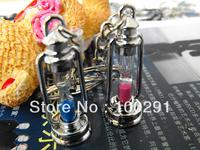 free shiping& ancient light shape keychain /lovers sandglss keychain