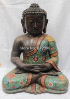 "17"" Tibet Tibetan Buddhism Purple Pure Bronze Cloisonne Shakyamuni Buddha Statue"