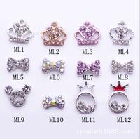 250designs 2014 100pcs 3D Metal Nail Art Decoration Alloy Bow Ring Jewelry With Shinning Rhinestones Nail Art Charm ML1-Ml200
