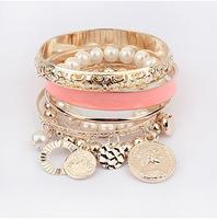 Min.Order $8.8(Mix Order) New 2014 Hot Sale Pearl Beaded Multilayer Women Fashion Charm Bracelet FB0054