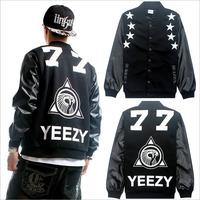 DK-25 D-dragon YEEZY77 Baseball jacket Hip hop Leather-sleeve Women men Fashion Casual Sports jacket Fleece Men's jacket