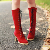 New Retro Women's High Heel Faux Suede Lace Up Knee High Boots Zip Side