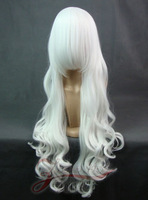 Cosplay one meter pure white silk long curly hair wig 100CM natural big wig