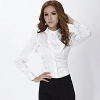Formal Female White Shirts Women Long Sleeve Work Blouses Ladies Office Uniform Blouses Autumn 2014 Free Shipping