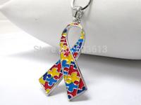 Fashion 12 Pieces 4.4CM Mix Color Enamel Alloy Autism Awareness Ribbon Pendant Necklace Free Shipping xy123