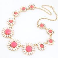 2014 New Fashion Choker Design Dress Flower Vintage Crystal Gold Chain Neon Bib Statement Necklace & Pendants Women Jewelry Gift