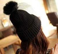2014 NEW Autumn and winter fashion knitting Warm wool crochet hat beanie skullie lady children rabbit fur net party accessories