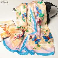122063 2014 Newest Women's brand Georgette Satin scarf, 100% Silk scarves, rectangle silk scarf, Free Shipping,  Muslim Hijab
