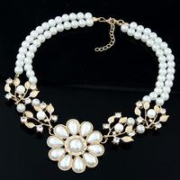 Gold Pearl Flower Rhinestone Drop Shorts Dress Choker Statement Pendants Necklaces 2014 New Fashion Jewelry Gift For Women F43
