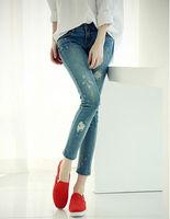 American Apparel new designer 2014 autumn winter ripped jeans woman,plus size slim all-match women denim pencil pants capris,
