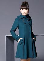Autumn and Winter Coat Women Wool Double-Breasted Outerwear Wool Coat Women Medium-Long Coat Wool Coat  155