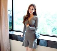 Free Delivery. Autumn sweater dress Korean winter V neck dress sleeve knit bag hip skirt show thin sweater dress
