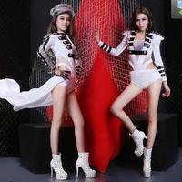 Womens Bodysuit+Gauze Dance Costume Power Shoulder Military Uniform Napoleon Cos Cosplay Jazz XS M L Free Shipping