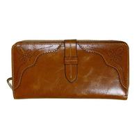 Latest wax leather cow leather fashion wallet female Shi Duoka bit multi colors Wristlet