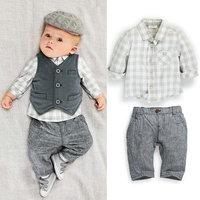 gentleman baby boy clothes set long sleeve shirt vest pants 3pcs set for spring autumn infnat clothes