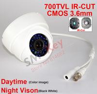 700tvl IR-cut CMOS CCTV Camera white plastic 24pcs blue IR LED 3.6mm lens Indoor Dome CCTV Camera