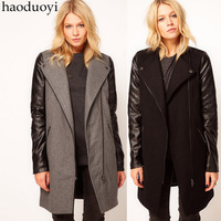 europe fashion style woman woolen trench with PU sleeves zipper decoration for wholesale and free shipping haoduoyi