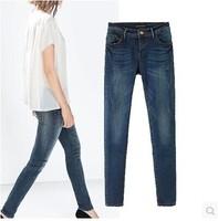 New 2015 Brand Design Womens Fashion Brief Design Denim Pants Casual Jeans Pencil pants
