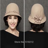 Colorufl vintage woolen fedoras women noble fashion flower fedora ladies fedoras hat for women