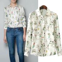 2014 new long-sleeve shirt female Large size shirt professional women's fashion blouse clothing  printed chiffon blouse