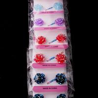 Wholesal e 12 Pairs Mix Colour Rose Flower Magnetic Back Women Girl Baby Children Clip On Ear Stud Earrings Free Shipping