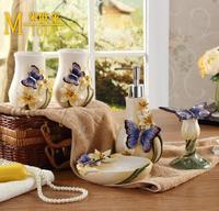 Ceramic Butterfly Bathroom Set 5pcs/set Bathroom Accessories Home Decor For Bathroom Free shipping