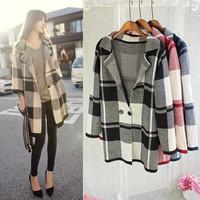 New Brand Korean Women Sweater plaid Knit Blouse Sweater Cardigan high quality long loose sweater ladies cardigan Tops 14127